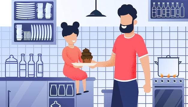 Vater-und tochter-küchen-karikatur-illustration