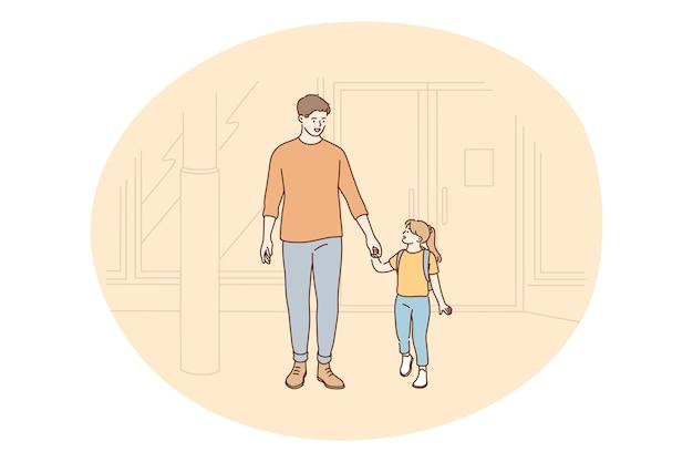 Vater und tochter, vatertag, aktivitäten mit kindern konzept. junger positiver mann vater