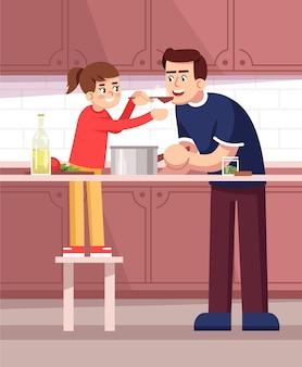 Vater und tochter verkostung mahlzeit zusammen halb flach vektor-illustration. degustation von speisen, eltern und kind bereiten das abendessen zu, kochen familienmitglieder 2d-zeichentrickfiguren für den kommerziellen gebrauch