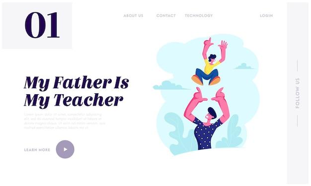 Vater wirft freudigen jungen auf, gesundes kind im freien aktivität, aktiver lebensstil, vater und sohn haben spaß, liebe, beziehungen, website landing page