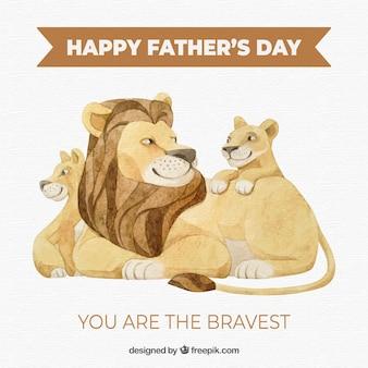 Vatertag hintergrund mit löwen familie