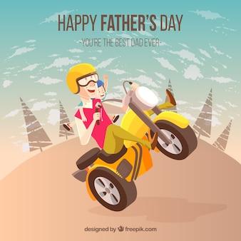 Vatertag hintergrund mit mann im motorrad