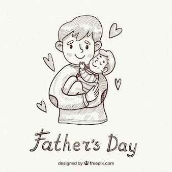 Vatertag hintergrund mit niedlichen familie