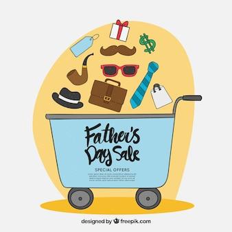 Vatertag-verkaufsschablone mit einkaufswagen