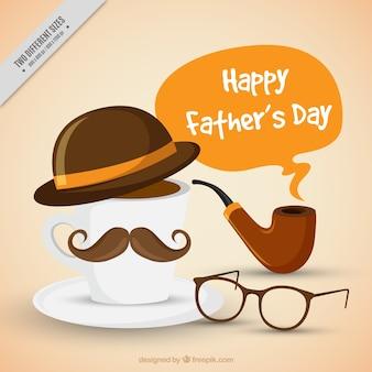 Vatertags-hintergrund mit einer tasse kaffee mit hut und schnurrbart