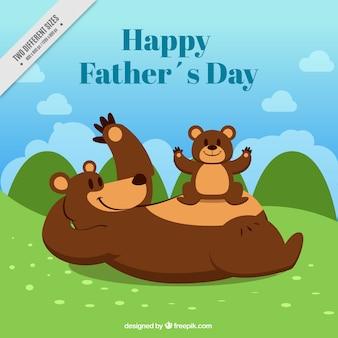Vatertags-hintergrund mit lächelnden bären