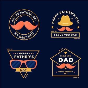 Vatertagsabzeichen-sammlung des flachen designs