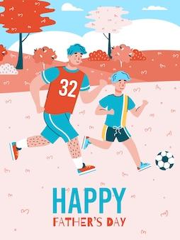 Vatertagsfahne oder -plakat mit vater und sohn, die zusammen fußball spielen, karikatur flach. vatertagsgrußkartenhintergrundschablone.