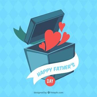 Vatertagshintergrund mit den herzen, die kasten verlassen