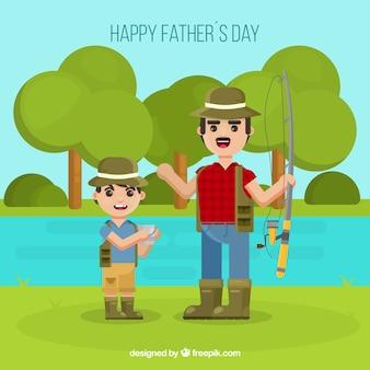 Vatertagshintergrund mit glücklicher familie in der flachen art