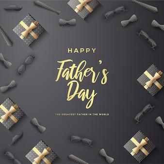 Vatertagshintergrund mit goldschrift und illustration von geschenkboxen, brille, 3d krawatte.