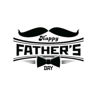 Vatertagsikone mit schnurrbärten und krawatte, glücklicher vaterfeiertagsvektorgrußkarte. vatertag oder papa familienfeier glückwunsch emblem mit gentleman schnurrbärten