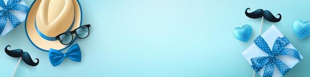 Vatertagsverkaufshintergrund mit männerhutgläsern und blauer geschenkbox