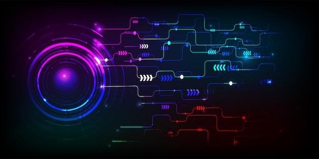 Vctor-technologiekreis und digitales geschäft der technologie unter verwendung als hintergrund und tapete