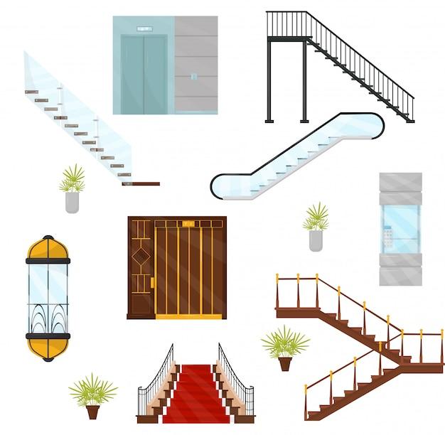 Vectoe-set aus verschiedenen aufzügen und treppen. kabinen mit mechanischen aufzügen, modernen treppen und beweglichen treppen. architektonische elemente
