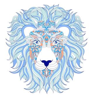 Vector abbildung des kopfes des löwes auf weißem hintergrund.