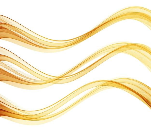 Vector abstrakte bunte fließende goldwellenlinien lokalisiert auf weißem hintergrundgestaltungselement für hochzeitseinladungsgrußkarte