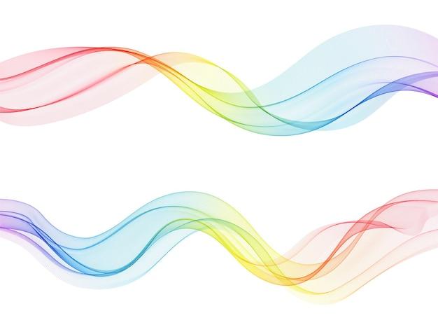 Vector abstrakte bunte fließende wellenlinien lokalisiert auf weißem hintergrundgestaltungselement für technologiewissenschaftsmusik oder modernes konzept