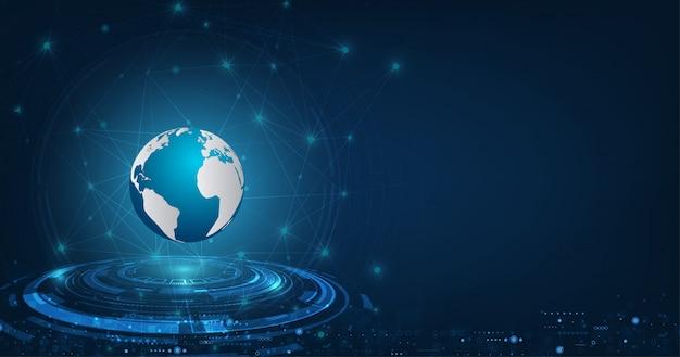 Vector abstrakte futuristische globale technologieverbindungs-netzkommunikation auf dunkelblauem farbhintergrund.