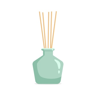 Vector aromatischer diffusor mit duftöl und schilf
