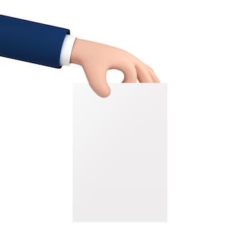 Vector artoon geschäftsmannhand, die leeres weißes papier hält.