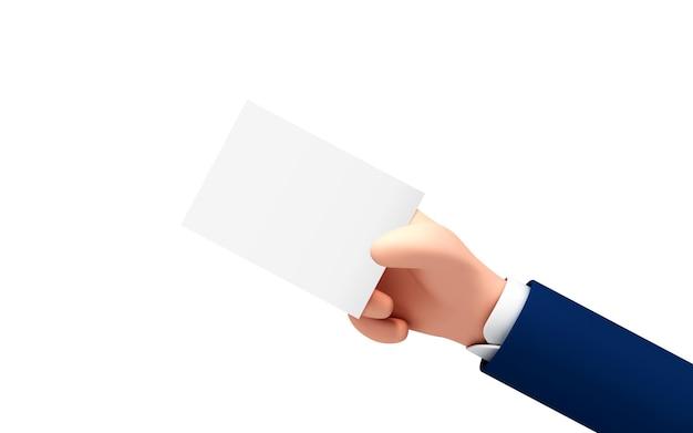 Vector ð¡ðƒartoon hand hält leeres papieretikett oder etikett auf weißem hintergrund. geschäftsmann hand hält weißbuch