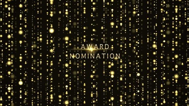 Vector award nominierungszeremonie luxus mit goldenem glitzer funkelt und bokeh
