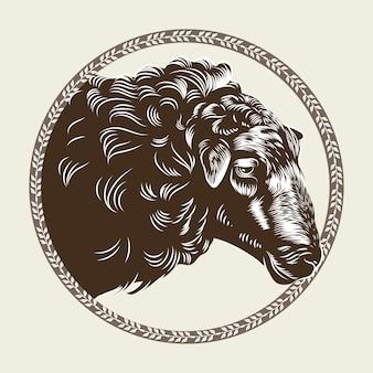 Vector bild eines kopfes eines schafes im stil des stiches.
