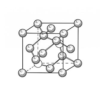 Vector bild eines kristallgitters eines diamanten