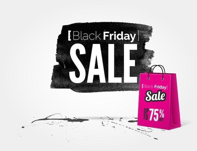 Vector black friday-aquarellbanner mit tintenspritzern und einkaufstasche