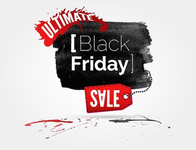 Vector black friday-aquarellbanner mit tintenspritzern und shopping-tag