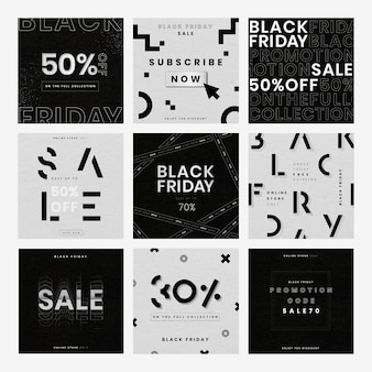 Vector black friday strukturierte hintergrundverkaufsanzeigensammlung