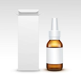 Vector blank medicine medical glassprühflasche verpackung package box