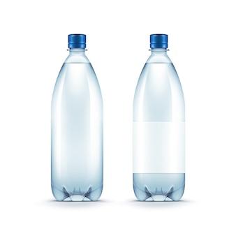 Vector blank plastic blue wasserflasche isoliert