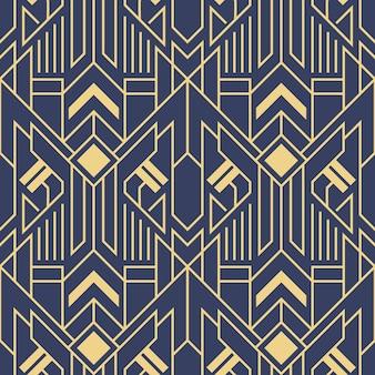 Vector blaues muster der abstrakten kunst-deko-modernen geometrischen fliesen farb