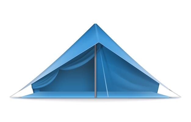 Vector blaues touristenzelt für reise- und campingvorderansicht lokalisiert auf weißem hintergrund