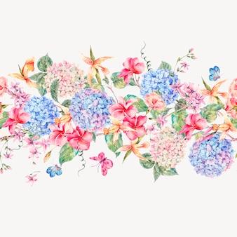 Vector blumengrußkarte der weinlese mit hortensien, orchideen