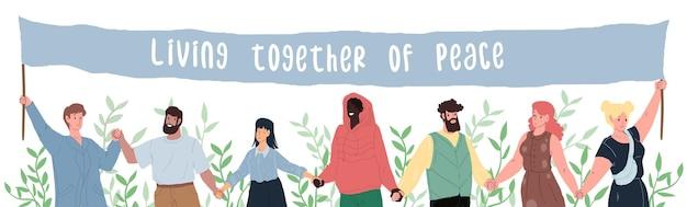 Vector cartoon flach glücklich lächelnde charaktere unterschiedlichen status und rassen, die händchen halten - gleichberechtigung der menschen, tag der vielfalt und des friedens, internationale freundschaft und solidarität, soziales konzept, website-design