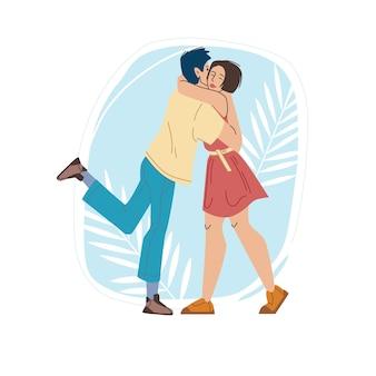 Vector cartoon flache charaktere freunde liebhaber paar glücklich umarmen sich, junge menschen in der liebe - kommunikation, emotionen, freundschaft, soziales konzept