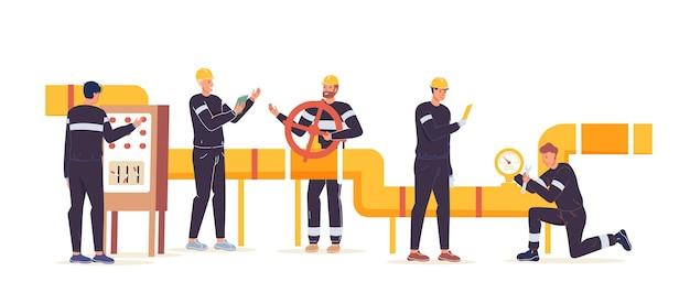 Vector cartoon flache industriearbeiterfiguren bei gas-, erdölproduktionsarbeit. ingenieurarbeiter bauen neue pipeline-öl- und gasexploration, extraktion, raffination, web-online-site-banner-anzeigen-konzept