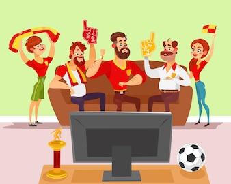 Vector Cartoon Illustration einer Gruppe von Freunden beobachten ein Fußballspiel im Fernsehen
