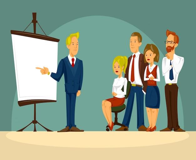 Vector cartoon illustration eines intelligenten geschäftsmann im büro eine präsentation