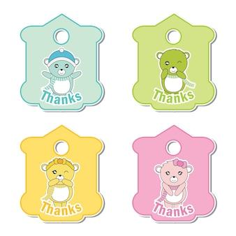 Vector cartoon illustration mit bunten cute baby bären geeignet für kind geschenk tag gesetzt design, danke tag und bedruckbare aufkleber-set