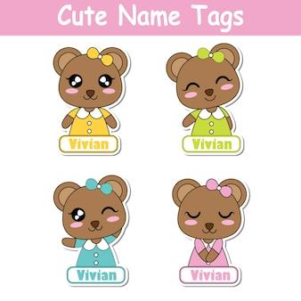 Vector cartoon illustration mit bunten niedlichen bären mädchen geeignet für kind name tag gesetzt design, label-namen und bedruckbare aufkleber-set