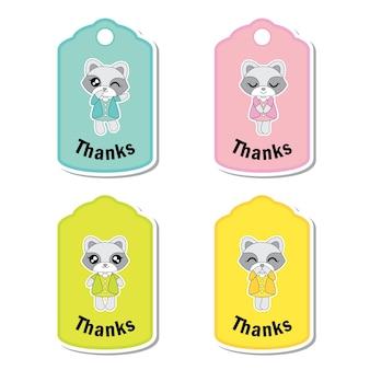 Vector cartoon illustration mit bunten niedlichen waschbären mädchen geeignet für kind geschenk tag gesetzt design, danke tag und bedruckbare aufkleber-set
