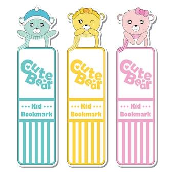 Vector cartoon illustration mit niedlichen bunten baby bären geeignet für kind lesezeichen label-design, bookmark-tag und aufkleber-set