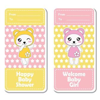Vector cartoon illustration mit niedlichen rosa und gelben baby pandas auf blumen hintergrund geeignet für baby-dusche-label-design, banner-set und einladungskarte