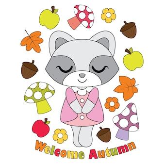 Vector cartoon illustration mit niedlichen waschbär mädchen, apfel, pilz und mapp blätter geeignet für herbst kind t-shirt grafik-design, hintergrund und wallpaper