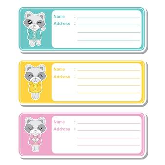Vector cartoon illustration mit niedlichen waschbär mädchen auf bunten hintergrund geeignet für kind adresse etikett design, adresse tag und bedruckbare aufkleber-set