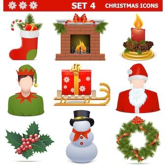 Vector christmas icons set 4 isoliert auf weißem hintergrund
